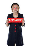 Clown with applause board Stock Photography