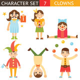 Clown 1 April Joke Fun Boys Girls Characters Icon Set Symbol  Accessories Stylish Isolated Flat Design Concept Template Stock Photos