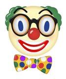Clown Art 3d Face. Clown Art Logo 3d glass image colorful happy party kids birthday smile glasses bow tie bowtie stock illustration
