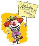 Clown auf dem Unicycle, der ein Geburtstagsfeier-Plakat hält stock abbildung