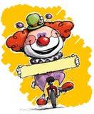 Clown auf dem Unicycle, der einen Aufkleber hält vektor abbildung