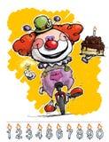 Clown auf dem Unicycle, der einen Geburtstags-Kuchen trägt lizenzfreie abbildung