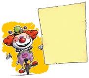 Clown auf dem Unicycle, der Einladung-Mitteilung hält stock abbildung