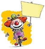 Clown auf dem Unicycle, der Plakat hält stock abbildung