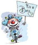 Clown auf dem Unicycle, der sein ein Jungen-Plakat hält stock abbildung