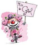 Clown auf dem Unicycle, der sein ein Mädchen-Plakat hält lizenzfreie abbildung