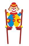 Clown auf Stelzen Stockfoto