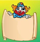 Clown avec la bannière Photographie stock