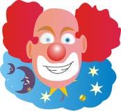 Clown avec le cheveu rouge chauve au milieu Photos stock