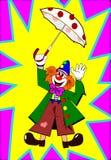 Clown avec le parapluie Photo stock