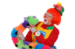 Clown avec le ver de terre d'animal familier Photo stock