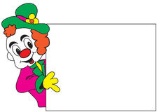Clown avec le whiteboard Photos stock
