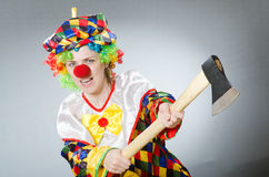 Clown with axe in funny concept Royalty Free Stock Photography