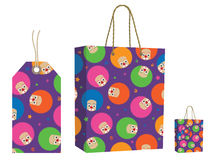 Clown bag and tag set Royalty Free Stock Images