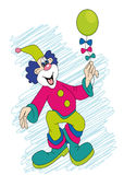 Clown with ball. Vector; funny clown with ball in hand Royalty Free Stock Photos