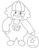 Clown with a ball coloring page Royalty Free Stock Image