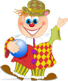 Clown with ball. The illustration shows a funny cartoon clown with a ball in hand. Illustration done in isolation on a white background Royalty Free Stock Photo