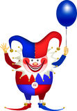 Clown with balloon. Cheerful clown with a balloon in the blue-red suit, All Fools' Day Royalty Free Stock Photo