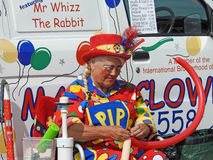 Clown balloon entertainer. Photo of pip the clown balloon childrens entertainer working at whitstable fun day show on 11th june 2017 Stock Photo