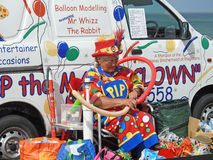 Clown balloon entertainer. Photo of pip the clown balloon childrens entertainer working at whitstable fun day show on 11th june 2017 Royalty Free Stock Image