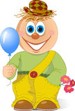 Clown with balloon. The illustration shows a funny cartoon clown with a balloon in hand and flowers. Illustration done in isolation on a white background Stock Image