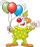 Clown with balloons. Cartoon illustration of a clown holding balloons Royalty Free Stock Photos