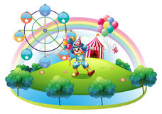A clown with balloons at the carnival in the island Royalty Free Stock Image