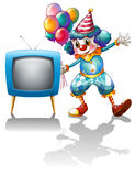 A clown with balloons near the T.V. stock illustration
