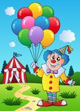 Clown with balloons near tent. Illustration Stock Photography