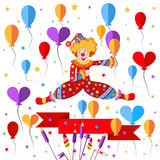 Clown, balloons, ribbon salute Royalty Free Stock Photography