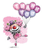 Clown with Balloons Saying Thank You - Girl Colors Royalty Free Stock Images