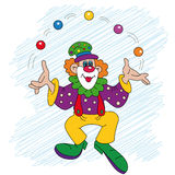 Clown with balls Stock Images