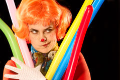 Clown with baloons. Stock Images