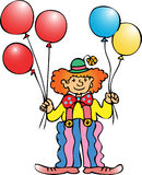 Clown with baloons. A circus clown with red,yellow and blue balloons Royalty Free Stock Image