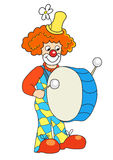 Clown banging a big bass drum Royalty Free Stock Image