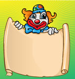Clown with banner. Happy clown  party with banner Stock Photography