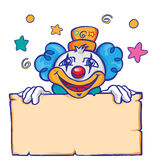 Clown with banner. Happy clown with banner and stars Royalty Free Stock Photography