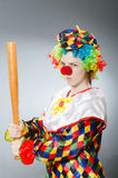 Clown with baseball bat in funny concept Royalty Free Stock Photography