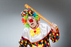 Clown with baseball bat in funny concept Royalty Free Stock Photos