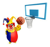 Clown with Basket ball and Basket. 3d rendered illustration of Clown with Basket ball and Basket Royalty Free Stock Images