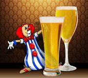 Clown and beer. Colored clown's illustration with two glasses of beer Royalty Free Stock Photography