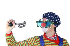 Clown with bicycle Horn Stock Images