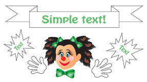Clown with big gloves and green bows. Clown with big gloves and beautiful bows Royalty Free Stock Photo