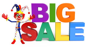 Clown with Big sale sign. 3d rendered illustration of Clown with Big sale sign Royalty Free Stock Photos