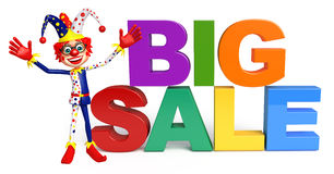 Clown with Big sale sign. 3d rendered illustration of Clown with Big sale sign Stock Photography