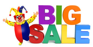 Clown with Big sale sign. 3d rendered illustration of Clown with Big sale sign Royalty Free Stock Image