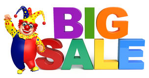 Clown with Big sale sign. 3d rendered illustration of Clown with Big sale sign Royalty Free Stock Images