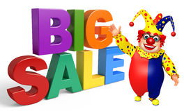 Clown with Big sale sign. 3d rendered illustration of Clown with Big sale sign Royalty Free Stock Photo