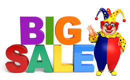Clown with Big sale sign. 3d rendered illustration of Clown with Big sale sign Stock Photos
