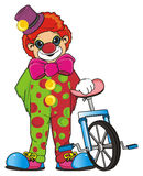 Clown and bike Royalty Free Stock Photo